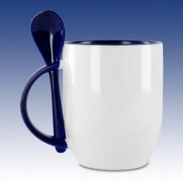 hrnek modrý s lžící